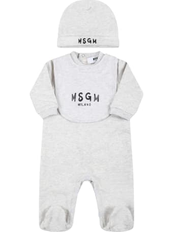 MSGM Gray Set Fo Babykids With Black Logo