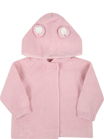 Stella McCartney Kids Pink Cardigan For Baby Girl With Ears