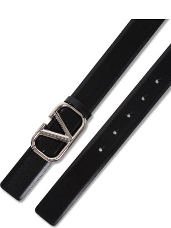 Valentino Garavani Black Leather Belt With V Logo Buckle