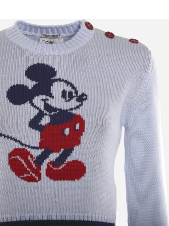 Miu Miu Cropped Wool Pullover With Mickey Mouse Intarsia