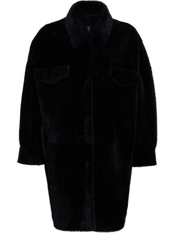 Blancha Leather And Merino Wool Reversible Black Coat
