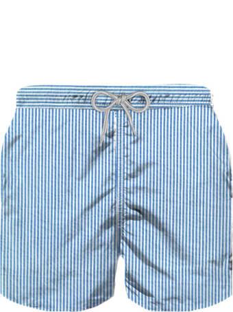 MC2 Saint Barth Light Blue Striped Cotton Swim Shorts For New Born