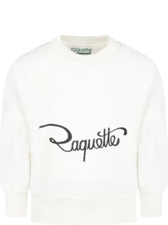 Raquette Ivory Sweatshirt For Girl With Logo
