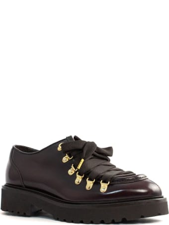 Doucal's Lace-up Shoes In Smooth Burgundy Calfskin
