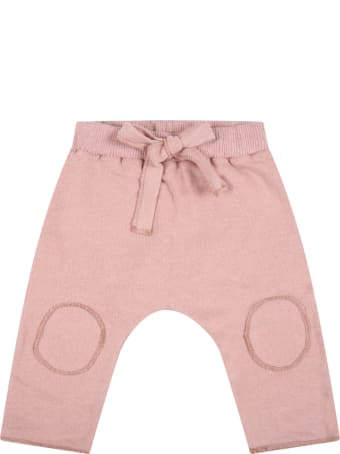 """Caffe' d'Orzo Pink """"dafne"""" Trousers For Baby Girl With Bow"""