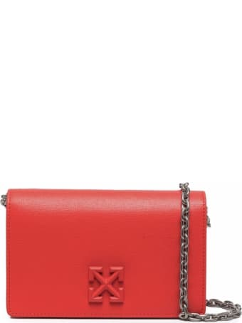 Off-White Borsa Jitney 2,0 In Saffiano In Coral Red Leather