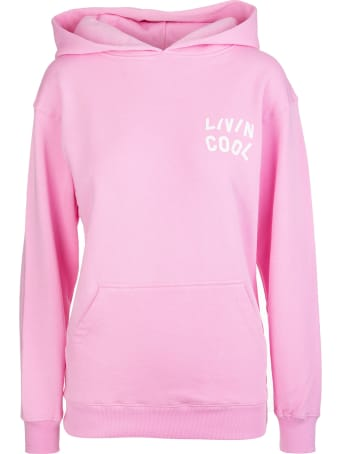 LIVINCOOL Woman Pink Oversize Hoodie With Logo