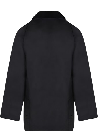 Barbour Black Jacket For Kids With Logo