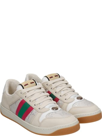 Gucci Sneakers In Beige Suede And Leather