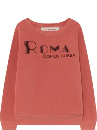 The Animals Observatory Red Sweatshirt For Kids With Red Writing