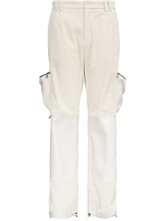 Dolce & Gabbana Ribbed Cotton Worker Trousers With Pockets