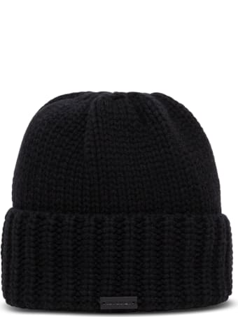 Saint Laurent Black Cashmere Hat With Logo