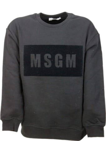 MSGM Long-sleeved Crewneck Sweatshirt In Cotton With Flocked Writing