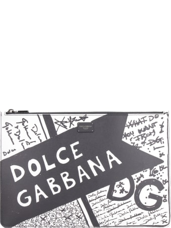 Dolce & Gabbana Printed Leather Flat Pouch