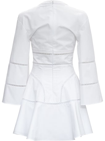 Giovanni Bedin White Cotton Dress With Perforated Inlays