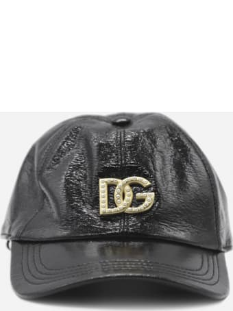 Dolce & Gabbana Patent Leather Hat With Logo Application