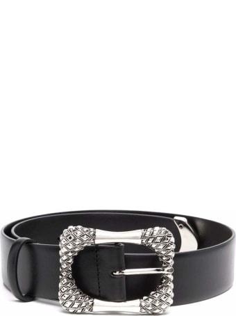 Alberta Ferretti Leather Belt With Silver Colored Buckle