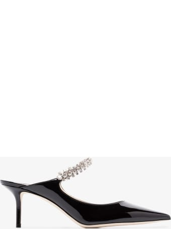 Jimmy Choo Black Patent Leather Mules With Crystal Strap