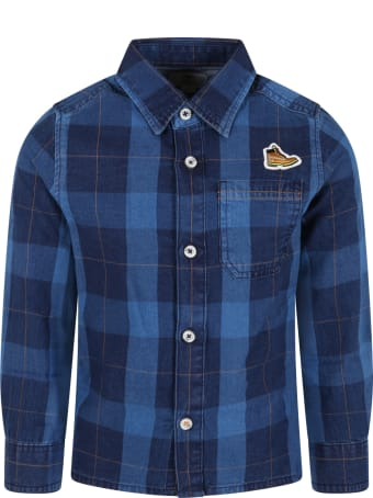 Timberland Blue Shirt For Kids With Patch