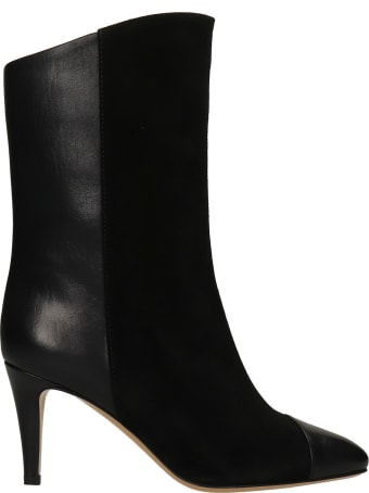 The Seller High Heels Ankle Boots In Black Suede And Leather