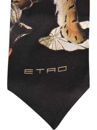 Etro Tiger Floral Print Neck Tie