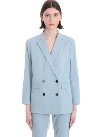 Theory Blazer In Cyan Linen