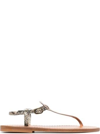 K.Jacques Python Print Leather Sandals