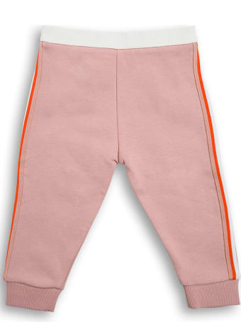 Moncler Pink Cotton Jogger With Logo Patch