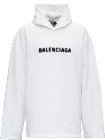 Balenciaga White Cotton Hoodie With Logo