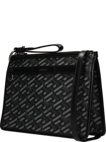 Versace Clutch In Black Polyuretan