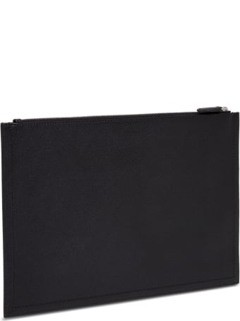 Givenchy Clutch In Black Hammered Leather