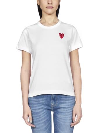 Comme des Garçons Play Double Patch-logo Cotton T-shirt