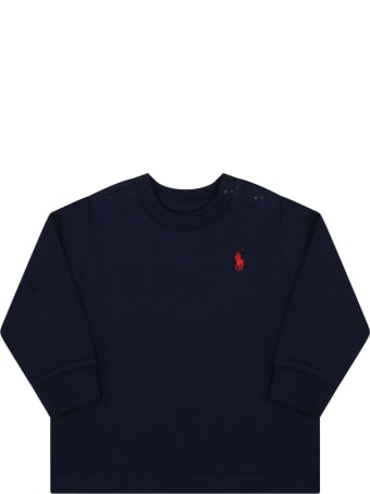 Ralph Lauren Blue T-shirt For Baby Kids With Pony Logo