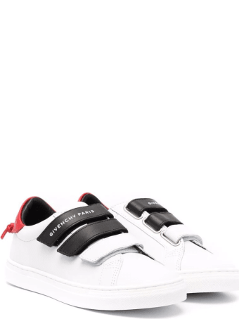 Givenchy Kids White And Black Sneakers With Red Spoiler