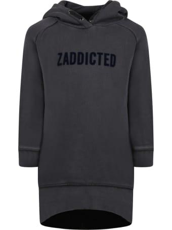 Zadig & Voltaire Gray Dress For Girl With Blue Velvet Logo