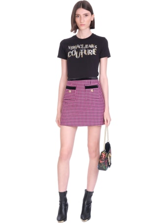 Versace Jeans Couture T-shirt In Black Cotton