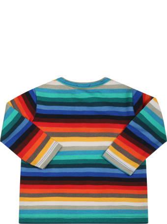 Paul Smith Junior T-shirt Multicolor Per Neonato Con Cavallino Ricamato