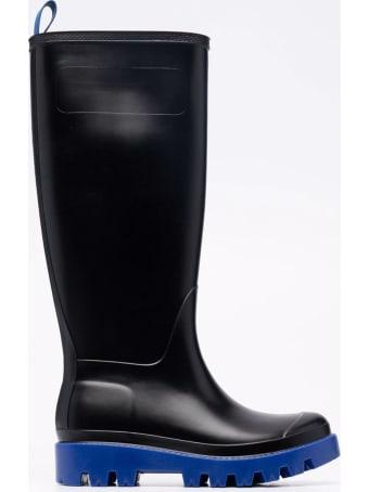 GIA BORGHINI Tall Black Rain Boot In Rubber