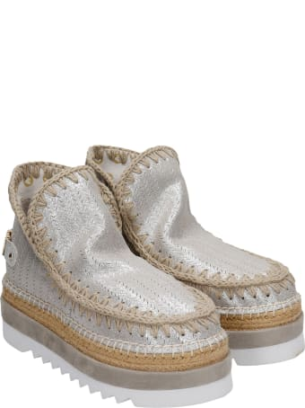 Mou Eskimo Jute Eva Low Heels Ankle Boots In Beige Leather