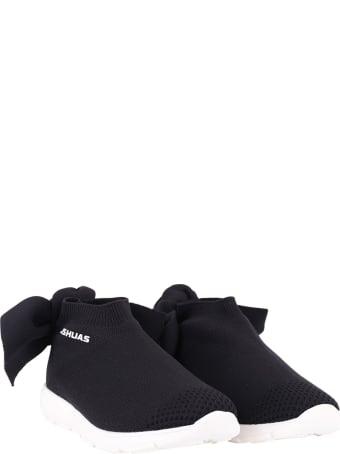 Joshua Sanders Black Sneaker For Girl With White Logo