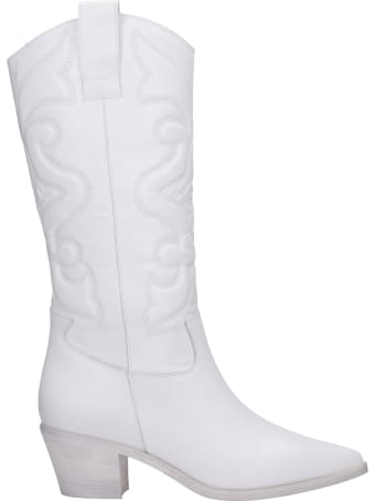 Alchimia Texan Boots In White Leather