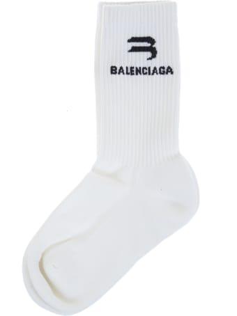 Balenciaga Woman White Sporty B Socks
