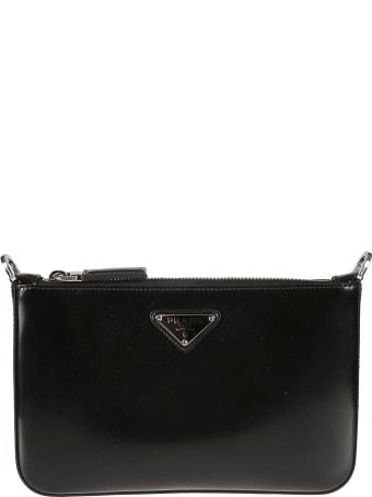Prada Top Zip Logo Plaque Shoulder Bag