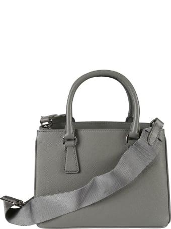 Prada Plain Leather Logo Tote
