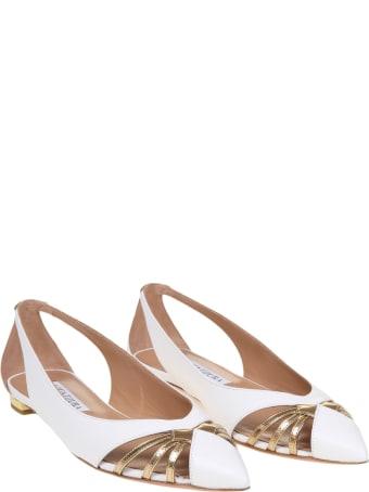 Aquazzura Cece Ballerina In White And Gold Leather