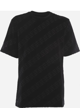 Fendi Cotton T-shirt With All-over Diagonal Ff Motif