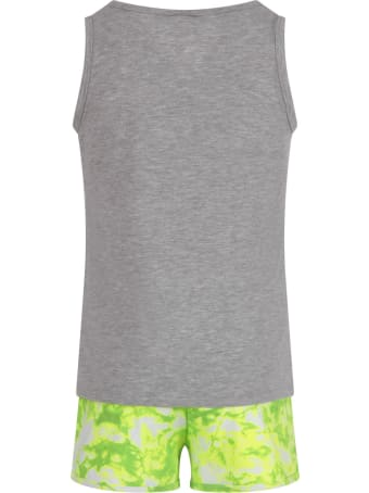 Dimensione Danza Grey And Neon Yellow Suit With Logo For Girl