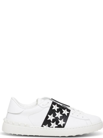 Valentino Garavani Open Leather Sneakers With Star Detail