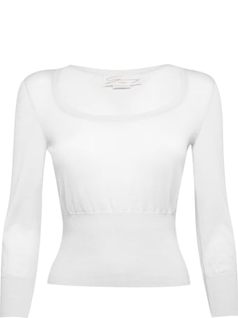 Genny Superlight Cashmere And Silk-blend White Sweater