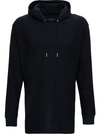 Givenchy Black Oversize Cotton Hoodie With Logo Print